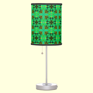 Green Gold Moroccan Lattice Abstract Diamond Quilt Desk Lamp