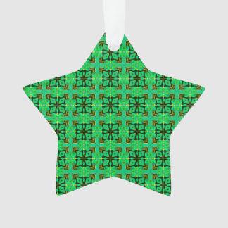 Green Gold Moroccan Lattice Abstract Diamond Quilt Ornament