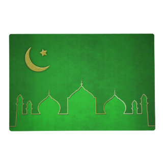 Green Gold Mosque Moon Star - Laminated Placemat