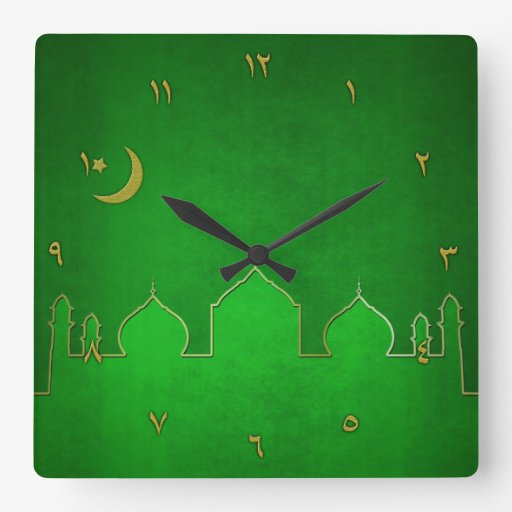 Green Gold Mosque Moon Star - Wall Clock
