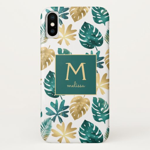 Green Gold Nature Tropical Palm Leaves Pattern iPhone XS Case