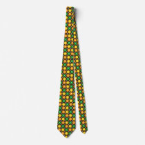 Green Gold Orange and Brown Argyle Patterned Tie