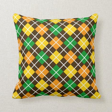 Green Gold Orange and Brown Argyle Throw Pillow