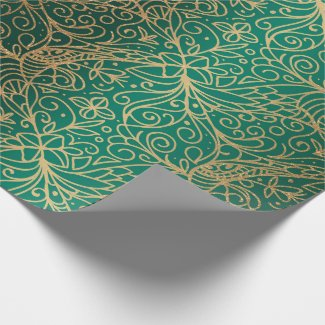 Green & Gold Ornate Decorative Pattern Wrapping Paper