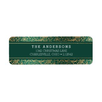 Green & Gold Ornate Happy Holidays Label