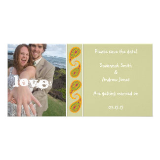 Green & Gold Paisley Save the Date  Your Photo Photo Cards