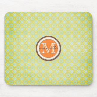 Green Gold Pattern Background Orange Monogram Mousepads