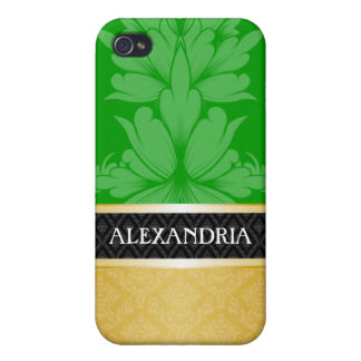 Green & Gold Personalized Damask iPhone 4 Case