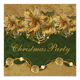 Green Gold Poinsettia Gold Christmas Party Card