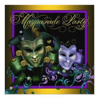 Green Gold Purple Masquerade Party Invitations