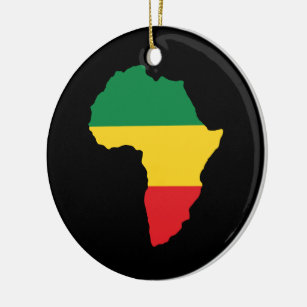 green gold red africa flag ceramic ornament