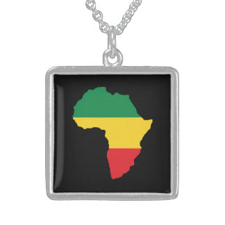 Green, Gold & Red Africa Flag Sterling Silver Necklace