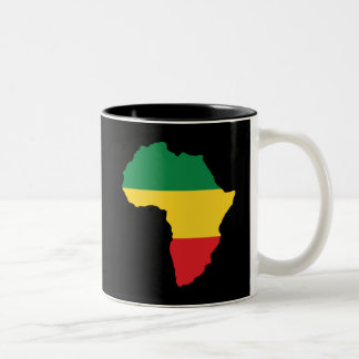 Green, Gold & Red Africa Flag Two-Tone Coffee Mug