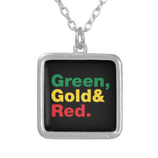 Green, Gold & Red. Silver Plated Necklace