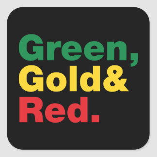 Green, Gold & Red. Square Sticker