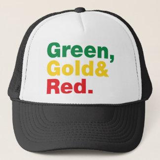 Green, Gold & Red. Trucker Hat
