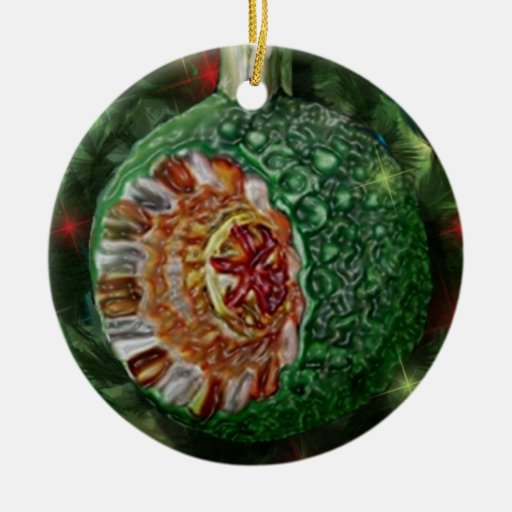 Green Gold Reflector Bulb Double-Sided Ceramic Round Christmas Ornament