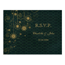 green gold rustic Snowflakes Winter wedding RSVP Postcard