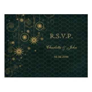 green gold rustic Snowflakes Winter wedding RSVP Postcard