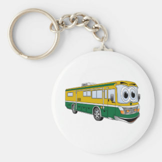Green Gold RV Bus Camper Cartoon Basic Round Button Keychain