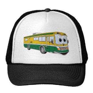 Green Gold RV Bus Camper Cartoon Mesh Hats
