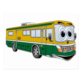 Green Gold RV Bus Camper Cartoon Postcard
