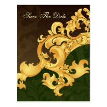 green gold save the date announcement postcard