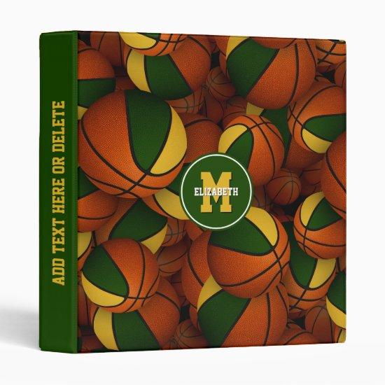 green gold school colors girls boys basketball 3 ring binder