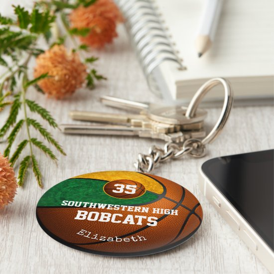 green gold school team colors girls' basketball keychain