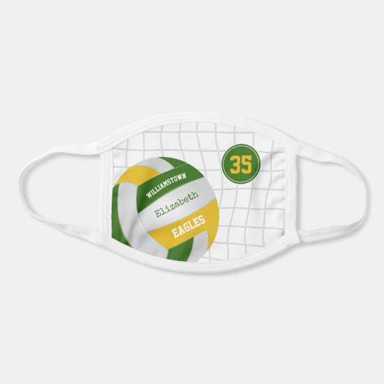green gold school team colors girls volleyball face mask