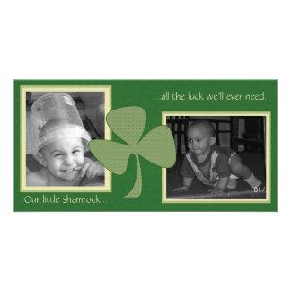 Green Gold Shamrock Custom Photo Card
