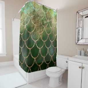 Green Gold Shimmer Mermaid Fish Scales Shower Curtain