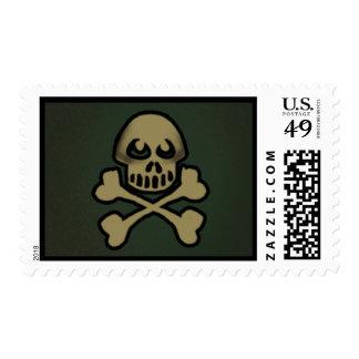 Green & Gold Skull Crossbones Halloween Postage