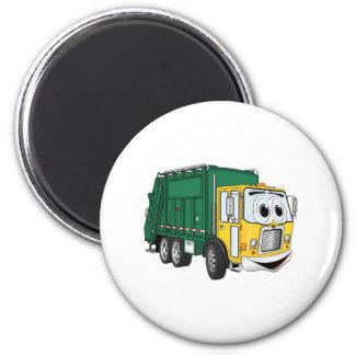 Green Gold Smiling Garbage Truck Cartoon 2 Inch Round Magnet