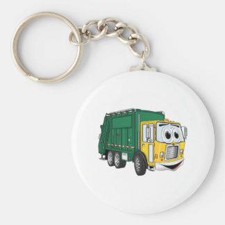 Green Gold Smiling Garbage Truck Cartoon Keychain