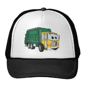 Green Gold Smiling Garbage Truck Cartoon Mesh Hats