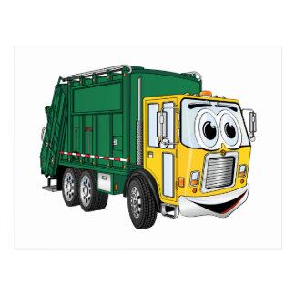 Green Gold Smiling Garbage Truck Cartoon Postcard