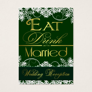 Green & Gold Snowflake Wedding Reception Cards