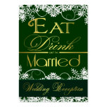 Green & Gold Snowflake Wedding Reception Cards Business Card Templates