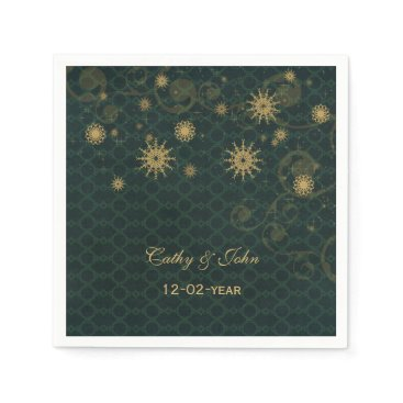 green gold Snowflakes personalized wedding napkin