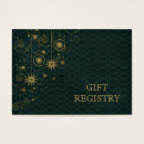 green gold Snowflakes wedding gift registry Business Card