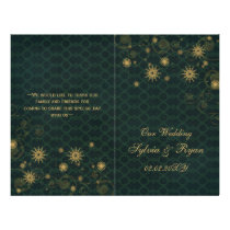 green gold Snowflakes wedding programs folded