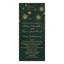 green gold Snowflakes wedding programs tea length