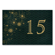 green gold Snowflakes wedding table numbers