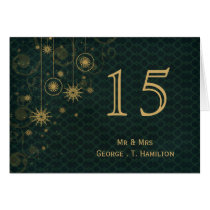 green gold Snowflakes wedding table numbers Card