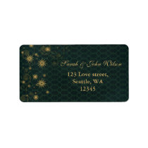 green gold Snowflakes Winter address label