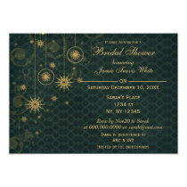 green gold Snowflakes Winter Bridal Shower Invite