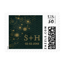 green gold  Snowflakes Winter personalized stamps