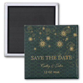 green gold Snowflakes Winter save the Date Magnet
