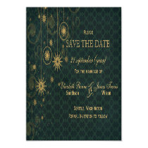 green gold Snowflakes Winter save the date Magnetic Card